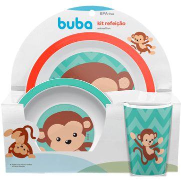 Kit Alimentação Infantil Animal Fun Macaco - 3 Peças