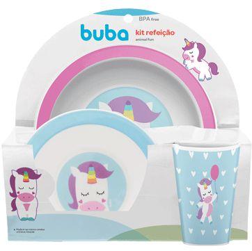 Kit Alimentação Infantil Animal Fun Unicórnio - 3 Peças