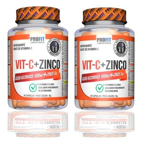 2x Vitamina C 1000mg + Zinco 7mg (120 caps total) - Profit