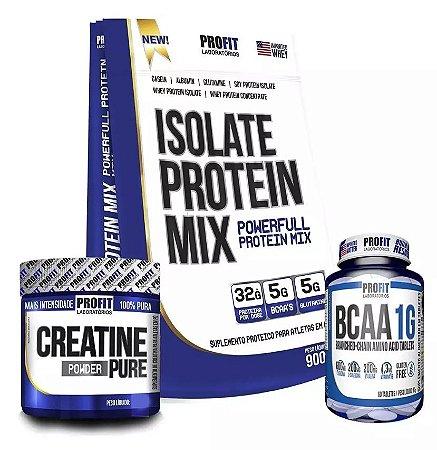 Combo Isolate Protein Mix 900g + Creatina 150g + BCAA 1g 60tabs