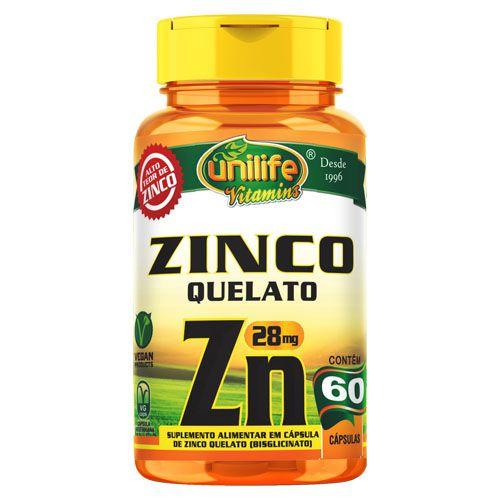 Zinco Quelato 28mg - 60 caps - Unilife