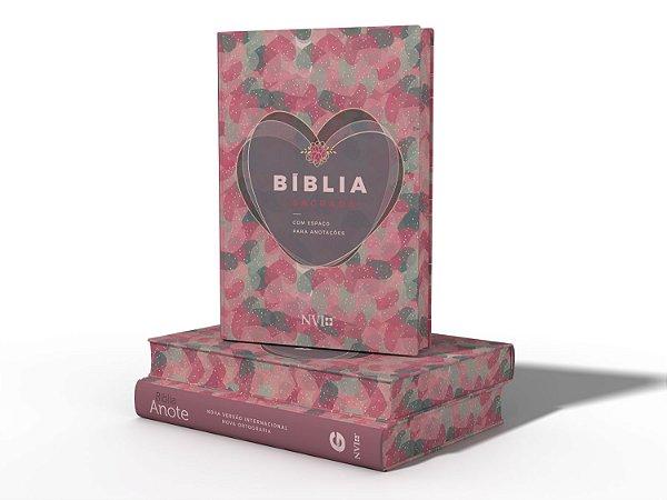 Bíblia Sagrada com espaço para anotações | NVI | Coração Rosa