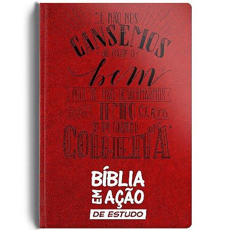 BIBLIA EM ACAO DE ESTUDO CAPA LUXO VERMELHA