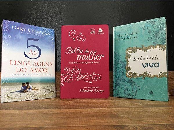 Kit Bíblia da Mulher +Devocional +Livro 5 Linguagens do Amor