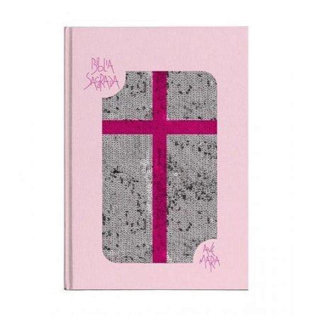Bíblia Ave Maria Lantejoula Rosa