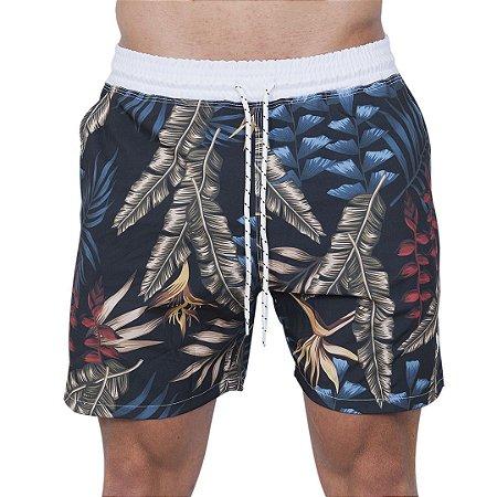 Shorts Tactel Masculino Preto Folhagem