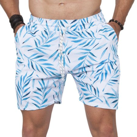 Shorts Tactel Masculino Branco Folhas Azul