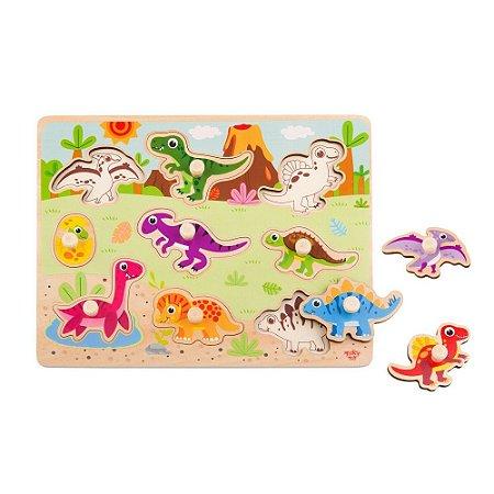 Encaixe com Pinos Tooky Toy Dinossauros
