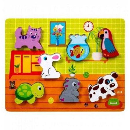 Tabuleiro Encaixe Tooky Toy Animais Domésticos