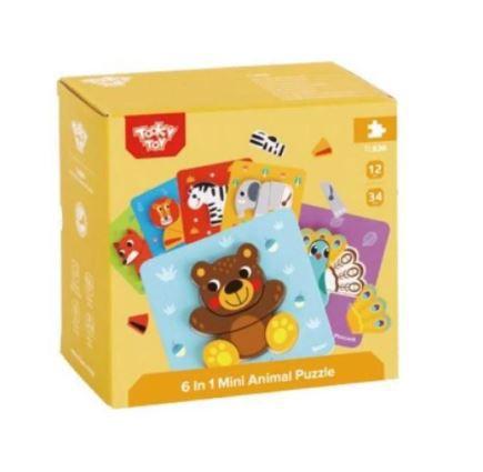 Kit Mini Quebra-Cabeças Animais Tooky Toy 6 Unidades