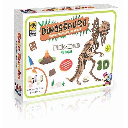 Quebra-Cabeça 3D Pinta e Brinca - Dilofossauro - 40 Peças
