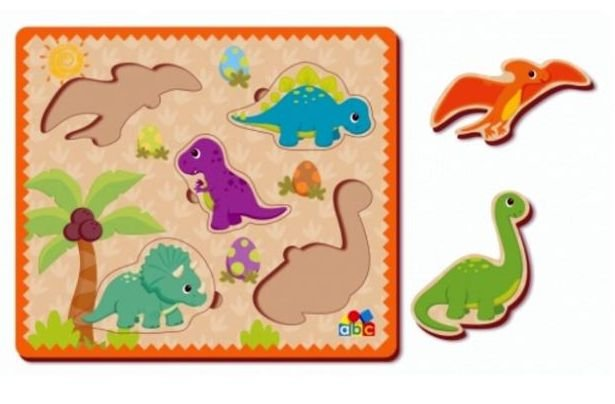 Quebra-Cabeça de Encaixe ABC Dinossauros