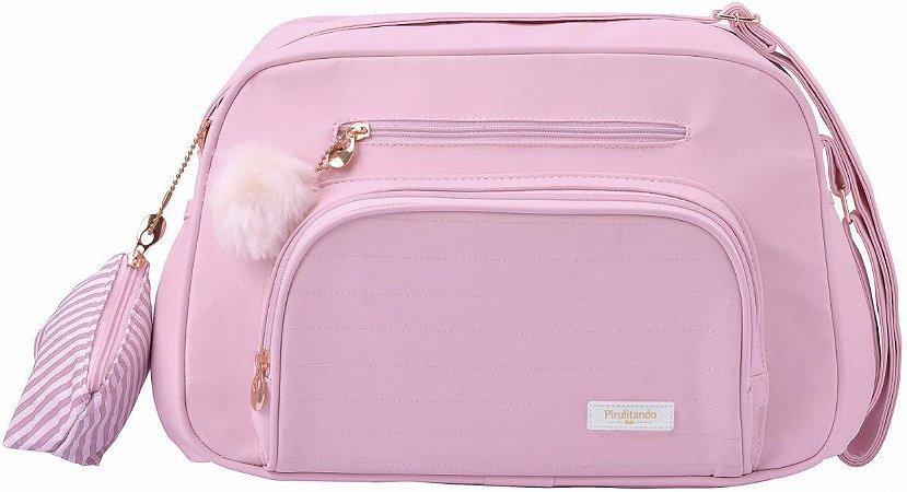 Bolsa Maternidade Nina Pequena Com Porta Chupeta | Cor: Rosa