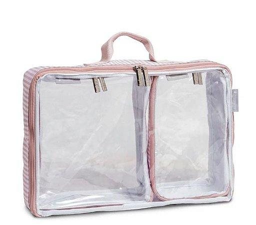 Organizador de Mala Nórdica Masterbag Kit com 3 | Cor: Rosa/Branco