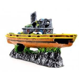 Enfeite barco chamine decorado grande - Trema - 38x11x24cm