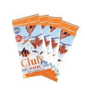 Racao flocos 12g - Club Pet Maramar - cartela com 30 unidades - 30x9x25cm