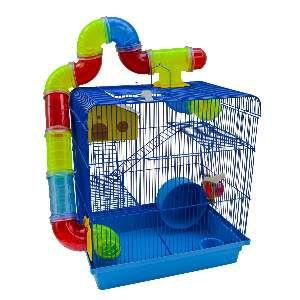 Gaiola para Hamster 3 Andares Labirinto - Jel Plast - (43 cm x 28 cm x 26 cm) - Azul