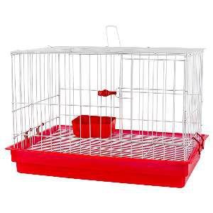 Gaiola para Coelhos - Jel Plast - (37 cm x 51 cm x 34 cm) - Vermelha