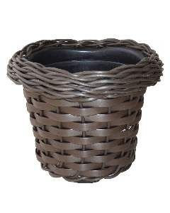 Vaso fibra redondo decorado nobre M - Mato Verde - 25x22cm