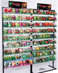 Expositor aco para sementes em V N24 para 144 unidades - Feltrin - 195x156cm