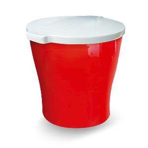 Canister plastico para racao redondo 15kg - Vermelho - Furacao Pet - 47x40x40cm