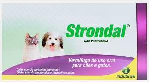 Vermifugo strondal 4 comprimidos - Indubras - 6 x 2,3 x 6,8 cm