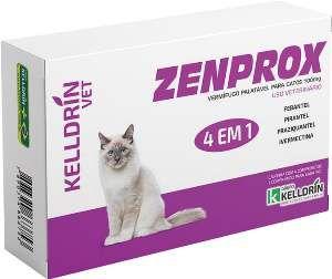 Vermifugo Zenprox para gatos 100mg - Kelldrin - 4 unidades