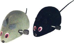 Brinquedo pelucia e plastico rato com corda pequeno - Chalesco - 7cm