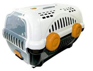 Caixa de transporte luxo N1 - Branca com laranja - Furacao Pet - 43x30x28,5cm - até 4kg