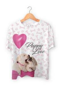 Baby look poliester puppy love P - Club Pet Dantas - 56x38cm