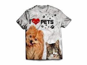 Camiseta poliester I love pets P - Club Pet Dantas - 60x45cm