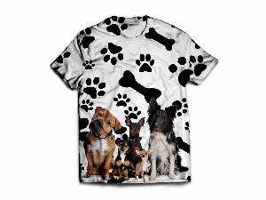 Camiseta poliester caes, ossos e patas M - Club Pet Dantas - 64x50cm