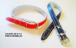 Coleira de Couro Forrada Nº 1 - Minas Couro - Preta e Vermelha - com 6 unidades - 1,5 x 31 cm