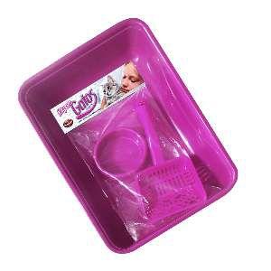Kit plastico - bandeja higienica, pa higienica, comedouro - Rosa - Furacao Pet - 40x26x8cm