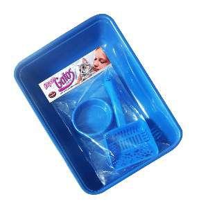 Kit plastico - bandeja higienica, pa higienica, comedouro - Azul - Furacao Pet - 40x26x8cm