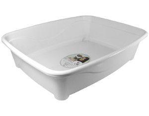 Bandeja higienica plastico classic para gatos - Furacão Pet - Branca - 45x36x13cm