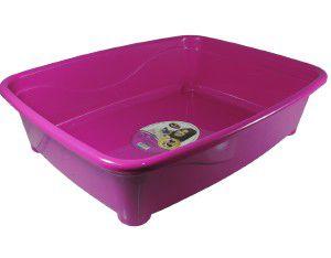 Bandeja higienica plastico classic para gatos - Furacão Pet - Rosa - 45x36x13cm