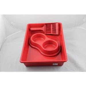 Kit plastico bandeja higienica/pa/comedouro vermelho - Four Plastic - com 10 unidades