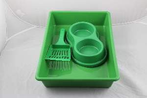Kit plastico bandeja higienica/pa/comedouro verde - Four Plastic