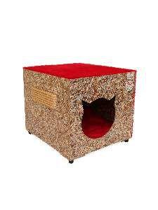 Toca ecologica simples gatos vermelha - Club Pet Recriar - 39x35x44cm
