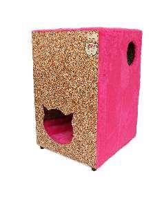 Toca ecologica 2 andares gatos rosa - Club Pet Recriar - 39x62x44cm