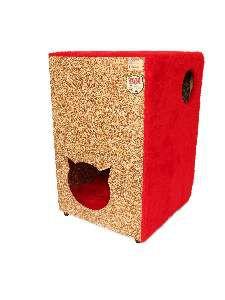 Toca ecologica 2 andares gatos vermelha - Club Pet Recriar - 39x62x44cm
