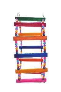 Brinquedo madeira escada 3x1 com micanga 12P pequeno - Club Still Pet - 84x12cm
