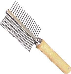 Pente aco duplo com cabo de madeira 49 dentes longos - American Pet's - 18cm