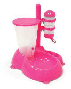 Bebedouro plastico automatico com bebedouro - Chalesco - 500ml/1250g - 19x31x35cm