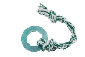 Brinquedo Pneu de Borracha Slickflex com Corda - Furacão Pet - 8x8x2cm