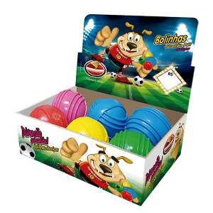 Brinquedo macico bola com friso - Furacao Pet - display 6 unidades - 85mm
