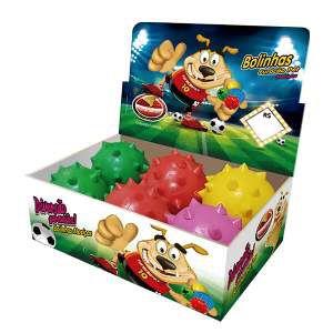 Brinquedo macico bola dogão com cravo- Furacao Pet - display 6 unidades - 80mm