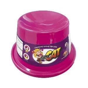 Comedouro plastico super cat rosa 200ml - Furacao Pet - 21x21x10cm