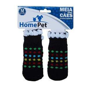 Meia poliester/algodao preta colorida M - Home Pet - 8x0,9x9cm
